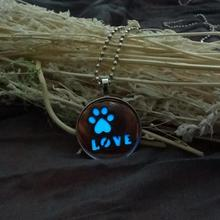 Lovers In The Dark Necklace LOVE Heart Dog Paw Carved Round Pendant Necklace Luminous Magic Men Women Steampunk Jewelry Z20