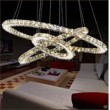 LED Crystal Chandelier Modern Light Fixture led Crystal Ring Lamp Circle Crystal Light Hanging Diamond Lighting LED Luminaire