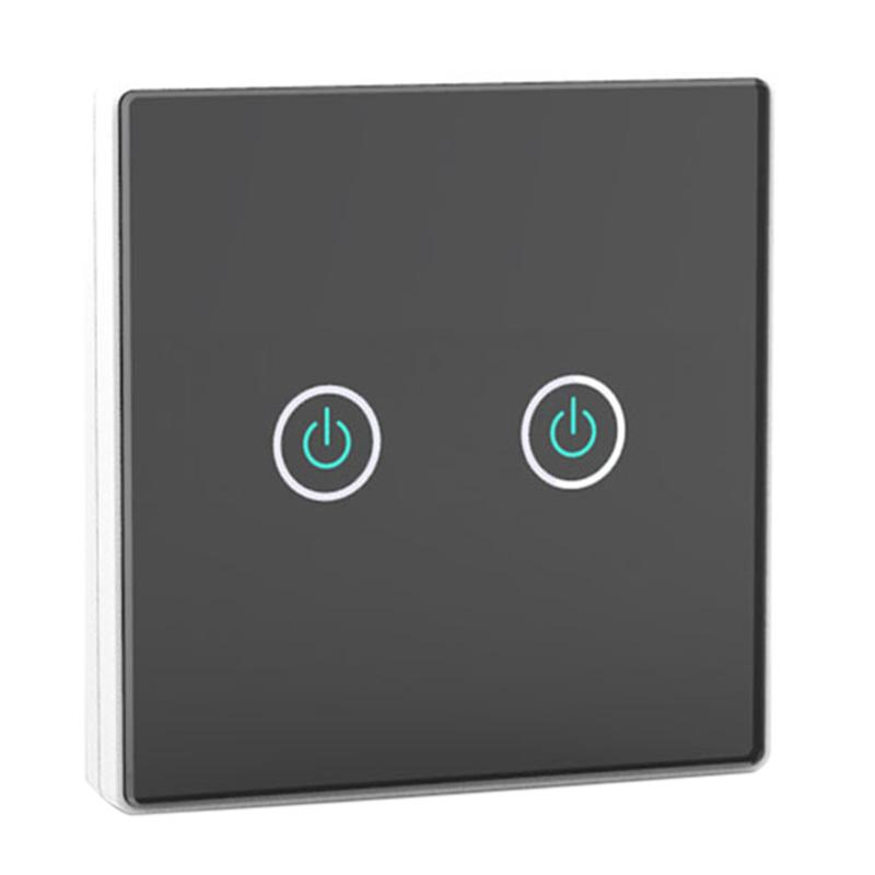 Modern 2-Gang 2-Way RFID Wireless Remote Control Touch Screen Light Switch Panel Black + 2 Receivers 100V-240V AC  <br>