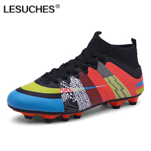 2017 Professional Mens Traning Football Boots With Socks Men Ankle High Soccer Boots Cleats Zapatillas Futbol Sala Hombre RnA82(China)
