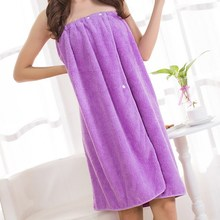 Bathrobes Women Bathing Wearable Bath Towel+Hair B-and Coral Cashmere Fleece Women Robe Towels Bath Skirt For Adults(China)