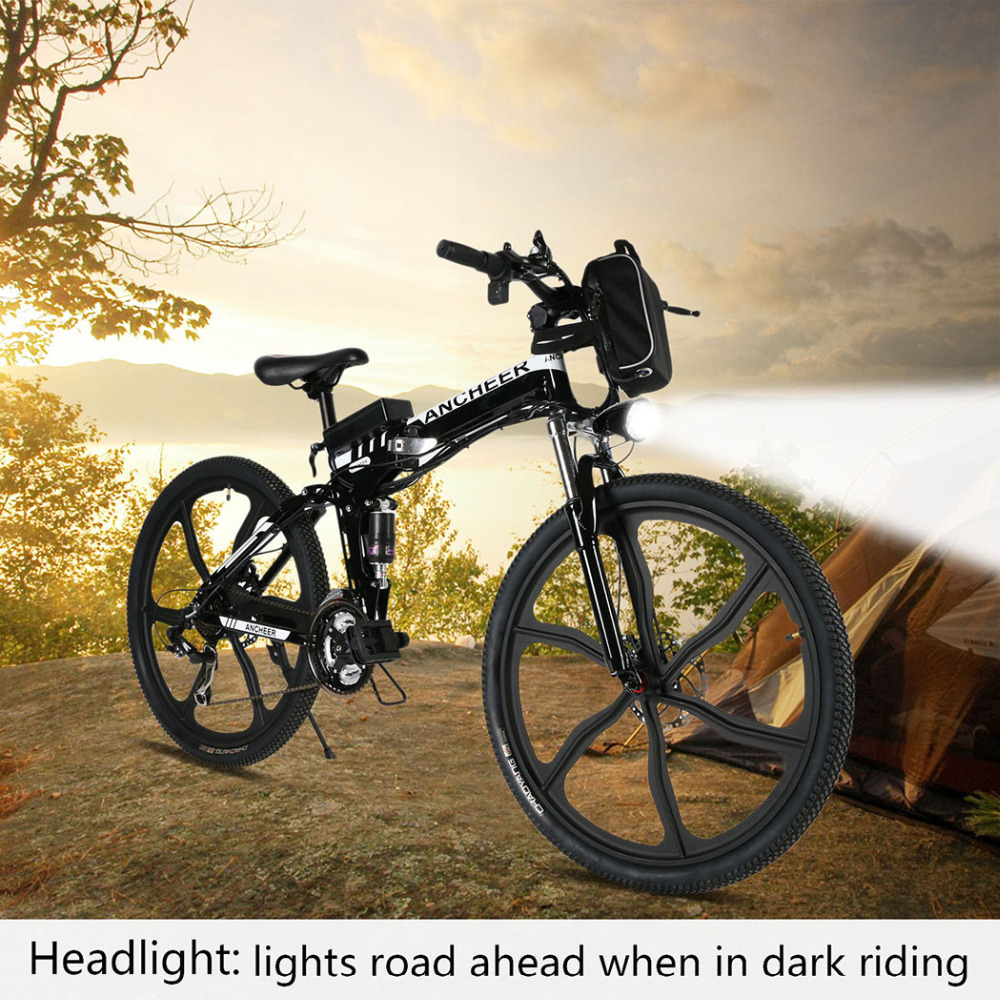 ANCHEER new ebike 26inch Bike 27 Speed Foldable Electric Power Mountain Bicycle with Lithium-Ion Battery 3 Color(China (Mainland))