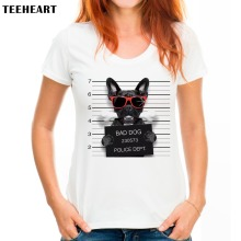 TEEHEART Women Fashion French Bulldog Design T shirt Novelty Tops Lady bad pug Printed Short Sleeve Tees px565