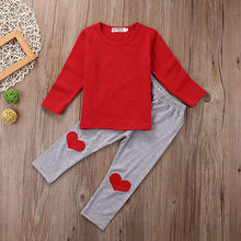 NewBorn Baby Boys Girls Clothing Set Kid Baby Boy Girl Outfits Red T-shirt Tops + Love Heart Long Pants Trousers