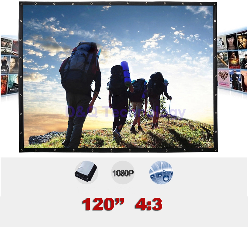 120 inches 4:3 Portable Wall Mounted Matt White Canvas Folding Outdoor Projector Screen for LED LCD HD Movie Projection Display<br><br>Aliexpress