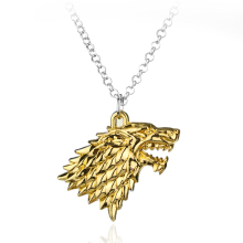 Game of Thrones House Stark Winter Is Coming 3D wolf head Movie Pendant necklace movie jewlery(China)