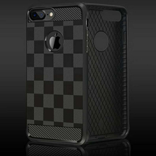 Lattice grain soft case for iPhone 6plus 7plus 6splus trellis design soft case for iPhone 6 6s Square Back Shell(China)