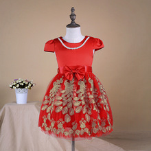 Pearls Kids Clothes Girls Dress Summer 2017 Toddler Girl Clothing Princess Dress Baby Girl Party Dress red blue 2-6T(China)