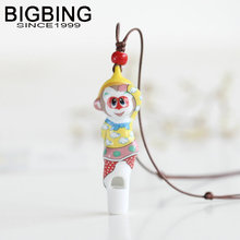 BIGBING Jewelry Fashion ceramic king monkey whistle Hand knitting necklace high quality Free shipping C062(China)