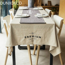 DUNXDECO Nordic European Linen Cotton Bar Coffe Store Table Cloth Party Simple Words  Kitchen Home Table Cover Home Decoration