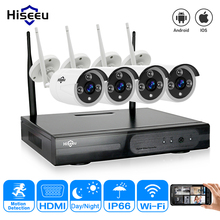 Buy Hiseeu Plug Play 4CH HD Wireless NVR Kit P2P 720P waterproof Outdoor IR Security 1MP IP Camera WIFI home CCTV System set for $134.34 in AliExpress store