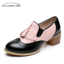 Genuine leather big woman shoes US size 9 designer vintage High heels round toe handmade black pink pumps 2017 sping with fur(China)