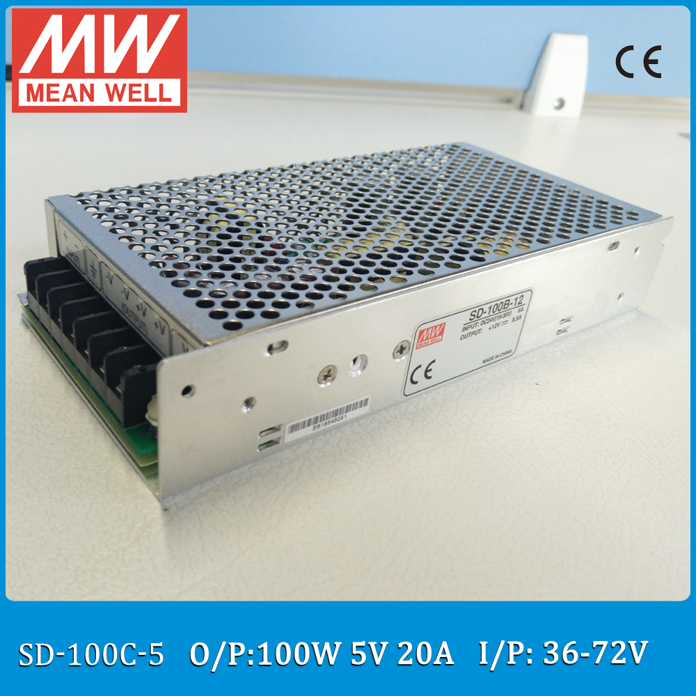 Original MEAN WELL Input 36~72VDC to output 5VDC converter SD-100C-5 Single Output 100W 20A 5V meanwell converter<br>