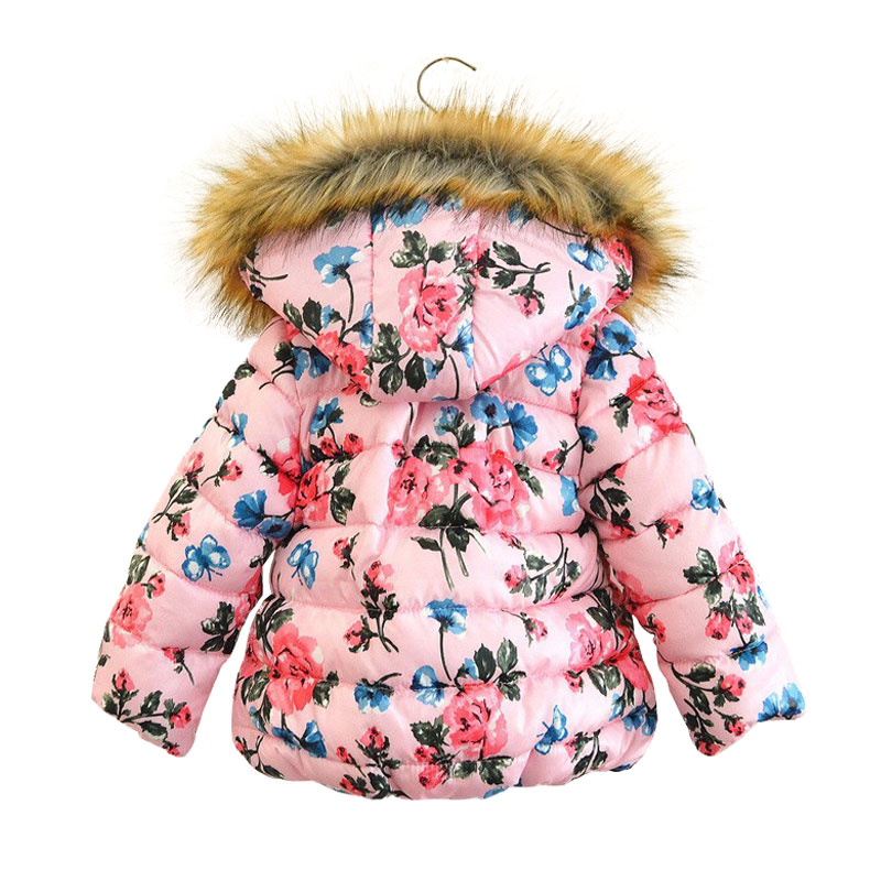90-130cm kids girls winter coats and jackets 2017 New Brand princess fur hooded flower print warm girls winter clothes outwearОдежда и ак�е��уары<br><br><br>Aliexpress