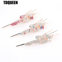 TDQUEEN Hair clips Golden Plated Colorful Rhinestone Hair pins for women Fashion Hair Accessories  Ponytail holder Jewelry
