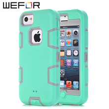 For iPhone 5C Case,WEFOR Hybrid Rugged Triple Layer Combo Case for Apple iPhone 5C with Hard Plastic Inner Shell(China)