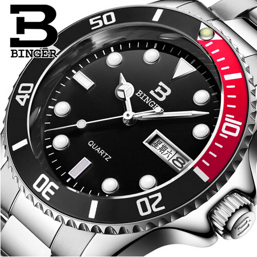 2017 Geneva Binger Men Watches Luxury Top Brand Red Black Sport Quartz Watch Men Big Dial Luminous Wrist Watch Mens Wristwwatch<br>