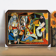100%Hand Painted Pablo Picasso Oil Painting abstract Guernica and Les Femmes D'Alger O Version Artwork Canvas Wall Decoration