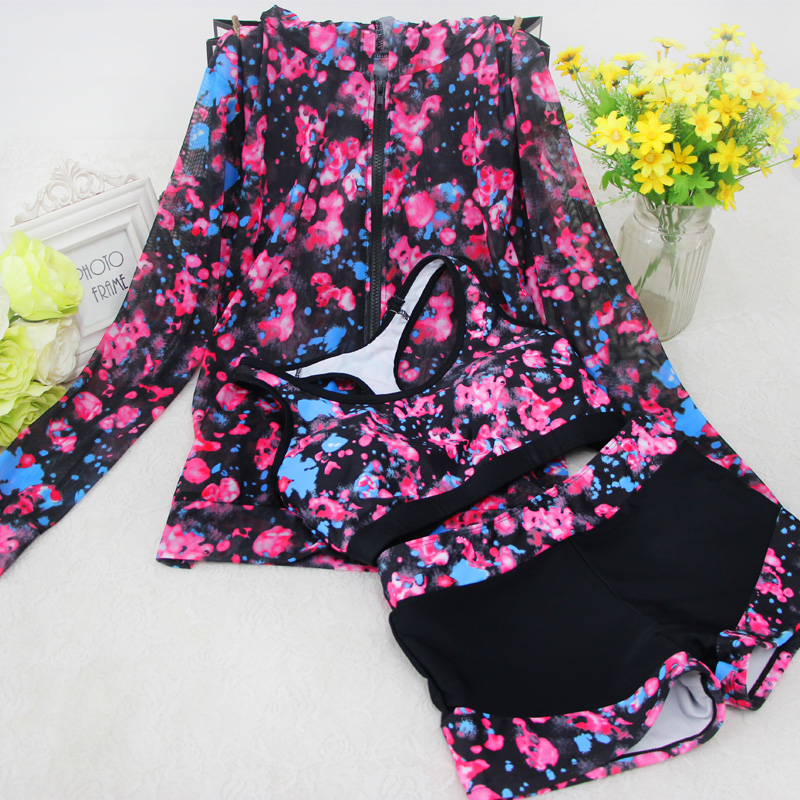 2018 Rushed New Floral Boxer Movement Split Long Sleeved Jacket Small Chest Sunscreen Swimsuit Gather <br>