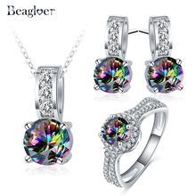 Beagloer New Arrival Glamorous Rainbow Mystic Cubic Zircon Silver Color Jewelry Sets Earrings Pendant Ring For Women Party V156(China)