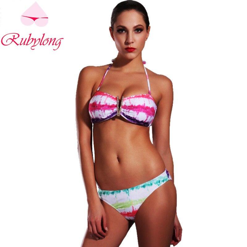 Rubylong Pink Print Halter Bikinis Set Swimwear Women Sexy Push Up Padded  Biquini Swimsuit Bikini Beachwear Bathing Suit<br><br>Aliexpress