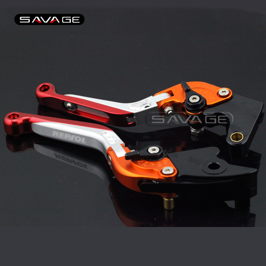 For HONDA CBR 600RR CBR600RR 2003 2004 2005 2006 Motorcycle Adjustable Folding Extendable Brake Clutch Levers logo REPSOL<br>