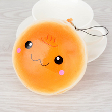 1PC 10cm Kawaii Cute Soft PU Squishy Expression Buns Bread Mobile Phone Straps Charms Kids Toy Present Random Color(China)