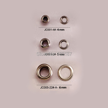Wholesale 500sets/lot metal brass eyelets with washer 4/5/6mm small round metal grommets nickle color free shipping JY-001(China)