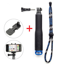SOONSUN 19'' Aluminum Self-Lock Extendable Monopod Pole Stick Telescopic Handheld+Phone Clip Holder for Phone Gopro Hero 6 5 4 3(China)