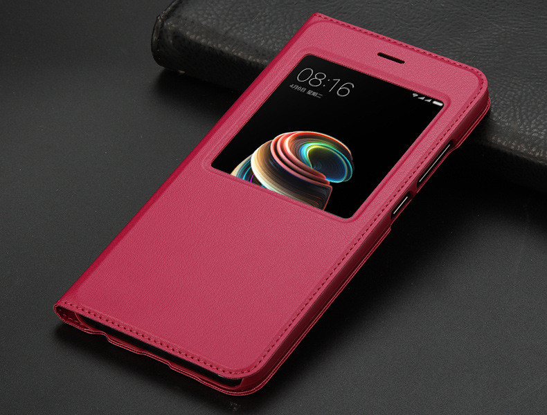 view quick answer open window leather flip case for xiaomi mi A1 mi 5x   12