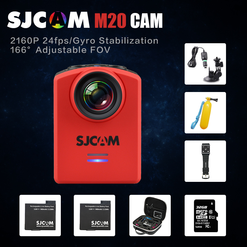 Original SJCAM M20 Wifi Super Mini Gyro Action Video Camera 4K/24fps 16MP Waterproof helmet cam Remote control watch Camcorder(China)
