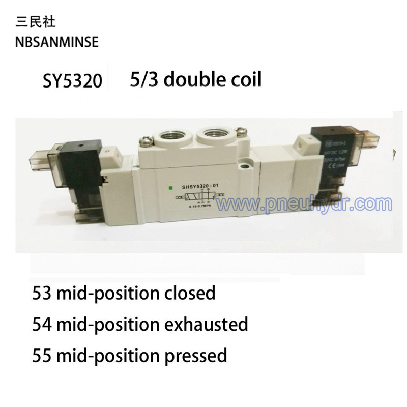 SY5320 Series 5/3 Double Solenoid Valve G1/8 Close Center DC24V High quality Ningbo Sanmin (NBSANMINSE)SMC Solenoid Valve<br><br>Aliexpress