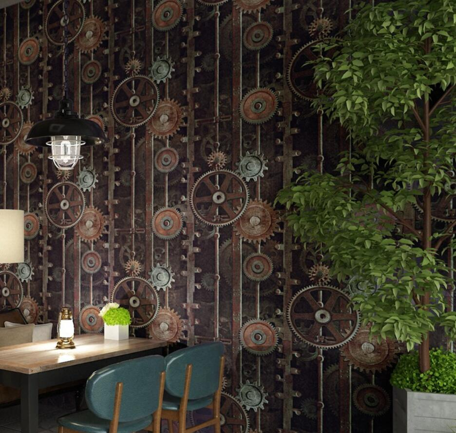 Beibehang Retro industrial wind wallpaper gear wrought iron net coffee specialty restaurant studio clothing store 3d wallpaper<br>