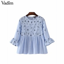 Vadim women sweet ruffles floral embroidery striped shirts long sleeve pleated blouse female casual brand tops blusas LT1936(China)