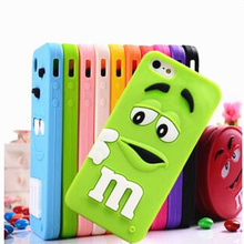 New Arrival 1 Piece Soft Silicone 3D M&M Chocolate Beans Mobile Phone Case for iPhone 7 Cute Cartoon Smartphone Back Cover