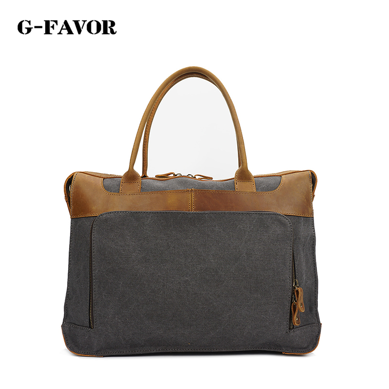 G-FAVOR Vintage Canvas Leather Messenger Traveling Briefcase Shoulder Laptop Bag<br><br>Aliexpress