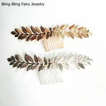 Gold Silver Leaf Hair Comb Bridal Hair Accessories Hair Jewelry For Women, Free Shipping(China)