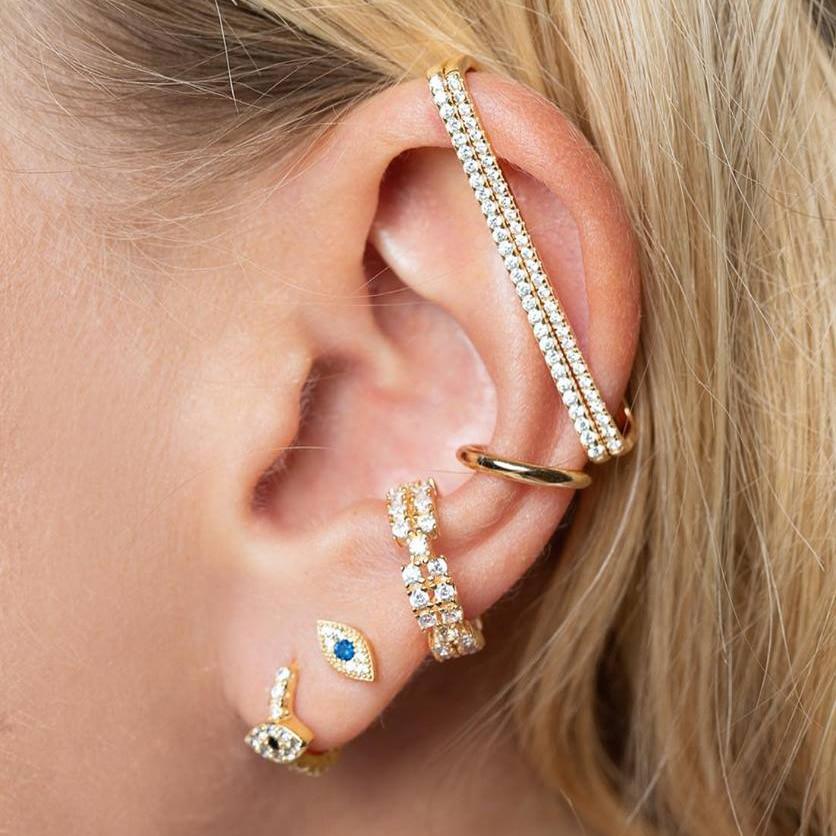 Women Fashion Punk Style Earrings Blue Eye Shape Charm Earring Ear Studs Jewelry