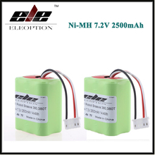 2 pcs 7.2Volt New Eleoption 2.5Ah 2500mAh Ni-MH 7.2V Rechargeable Battery for iRobot Roomba Braava 380 380T High Quality
