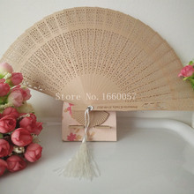 100pcs Wedding Favor Gift Personalized Sandalwood Cutout Fans Wood Color Hand Folding Fan +Customized Engraves Names & Date(China)