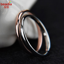 1pc 2017 New Titanium Steel Vacuum Rose Gold And Silver Ring Rings Couple Racing A Variety Of Sizes Optional Jewelry Tail Ring(China)