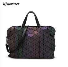 2017 Famous Brands Women BaoBao Bag Geometry Sequins Mirror Saser Plain Folding Bags Luminous Handbags PU Casual bao bao bag