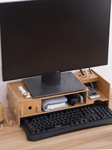 Monitor-Stand Drawer Storage Computer Laptop-Support Wooden Installation with Convent