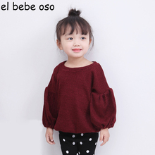 New Spring Autumn Baby Girls T Shirts Long Sleeve O-Neck Solid Loose Children Pullovers Top Tee Fashion Style Kids Clothes XL271(China)