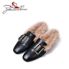 Zoe Saldana 2017 Microfiber Fur Square Toe Slip-On Fashion Casuals Plush Lady Flats Woman Shoes Winter Shoes Zapatos Mujer(China)