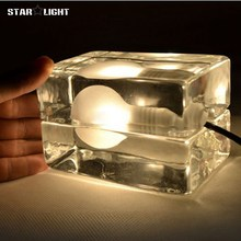 novelty design house block Ice cube lamp table lamps for living room Stockholm Glass cover Ice table lamp deco