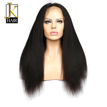 Brazilian Kinky Straight Wig Remy Lace Front Human Hair Wigs For Black Women Natural Hairline Pre Plucked With Baby Hair JK Hair(China)