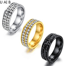 New arrival Top quality fashion 6mm titanium steel double row Rhinestones jewelry Women Men's Party Finger Rings(China)