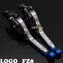 Laser Logo(FZ8) Titanium New CNC Folding Extendable Motorcycle Brake Clutch Levers For Yamaha FZ8 2011 2012 2013 2014 2015