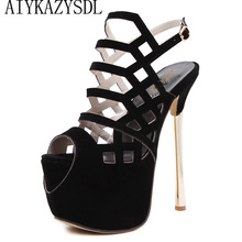 Buy AIYKAZYSDL Women Peep Toe Sexy Sandals Party Clubwear Fetish Shoes Ultra High Heel Pumps Strappy Platform Sandals Stilettos